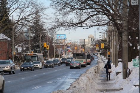 Travelling along Eglinton by transit, on foot, and by car