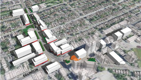 A massing model showing mid-rise buildings in the Dufferin Focus Area. A decision will be made as part of Volume 2 about the appropriateness of mid-rise buildings or tall buildings in Focus Areas