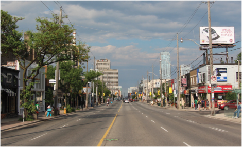 There is an opportunity to re-imagine the Eglinton streetscape, especially where a surface transit lane (as shown above) is no longer needed (with most transit underground). Image along Eglinton at Elmsthorpe.