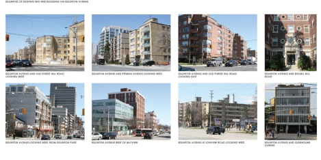 Examples of existing mid-rise buildings along Eglinton. Click to enlarge
