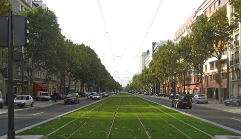 An example of a surface Light Rail Transit (LRT) trackway with a green surface. Click to see other examples from around the world