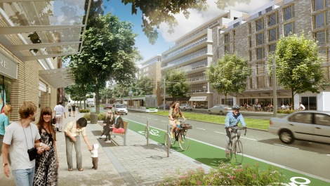 An artists conception of what the Golden Mile section of Eglinton could look like in the future. Notice the green trackway, mid-rise buildings, and balanced modes of transportation